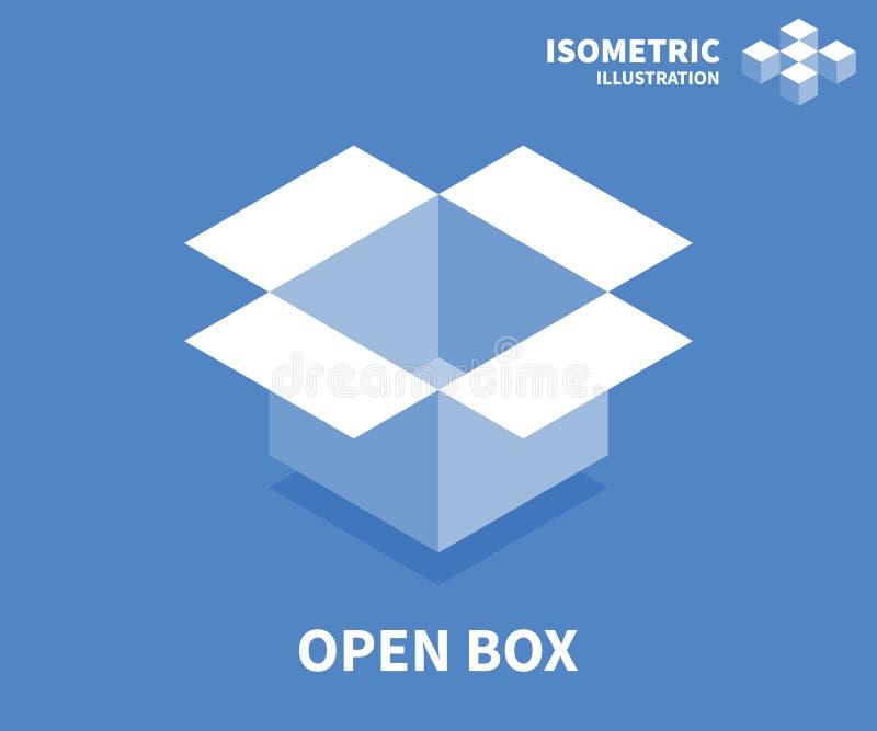 Öffnen Sie Kastenikone Isometrische Schablone für Webdesign in der flachen Art 3D Auch im corel abgehobenen Betrag vektor abbildung