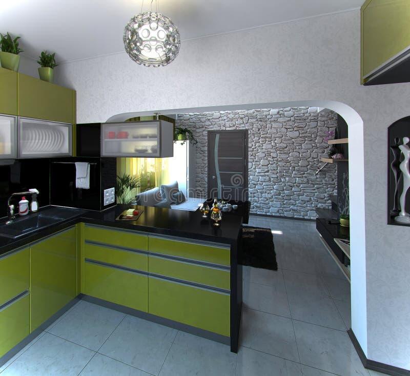 Öffnen Sie Konzept-Küchen- und Wohnzimmerszene 2, Wiedergabe 3D stockbilder