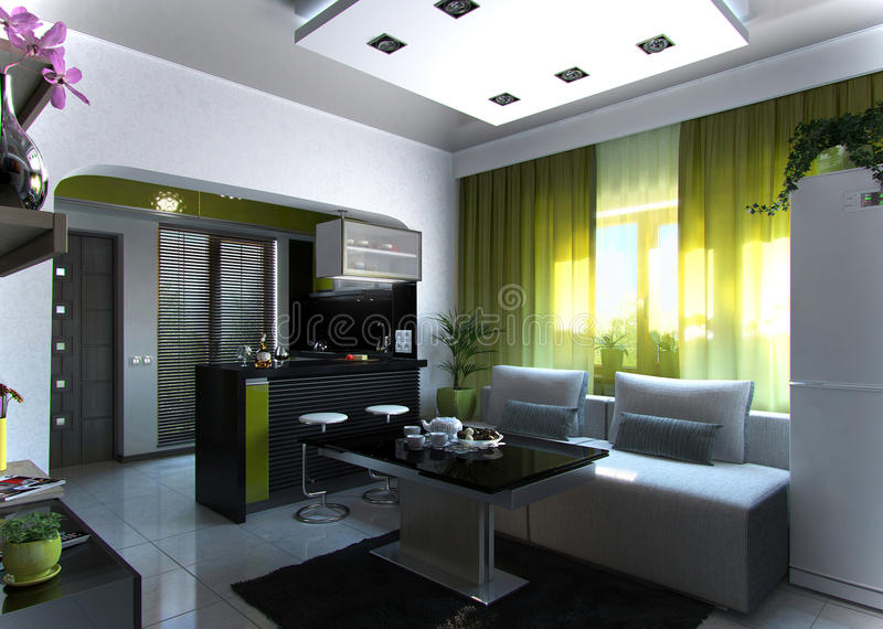 Öffnen Sie Konzept-Wohnzimmer- und Küchenszene 3, Wiedergabe 3D vektor abbildung
