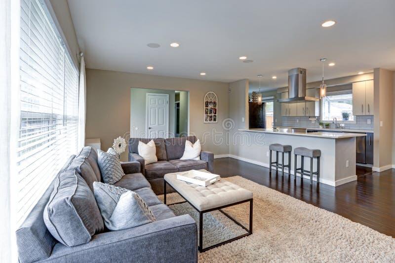 Öffnen Sie Konzeptwohnzimmer mit vielen Licht stockfotos