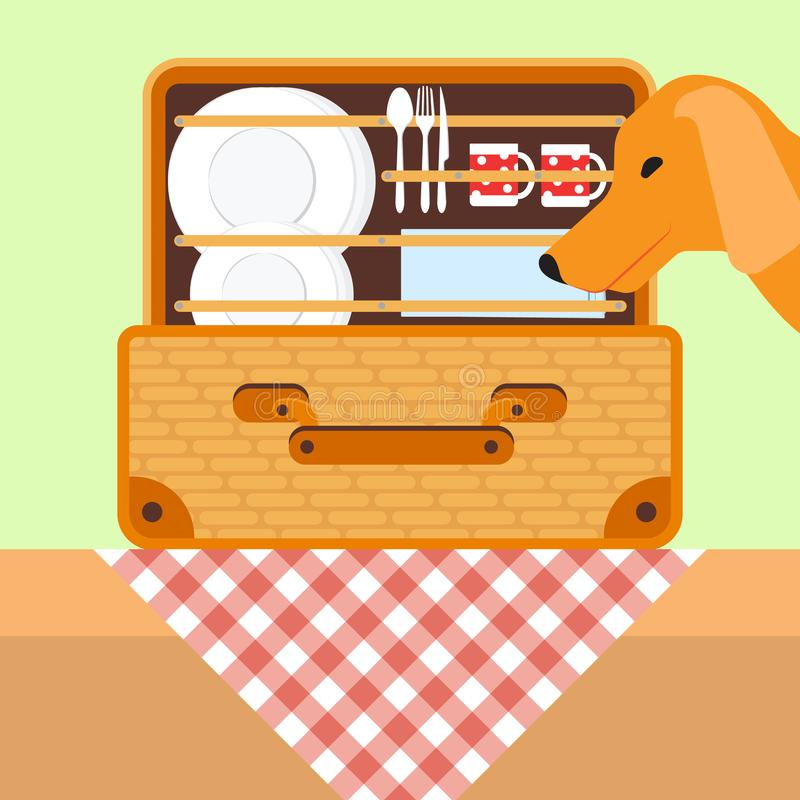 Öffnen Sie Korb für ein Picknick mit Geschirr Hund, der nach einem Lebensmittel im Picknickkorb sucht Auch im corel abgehobenen B stock abbildung