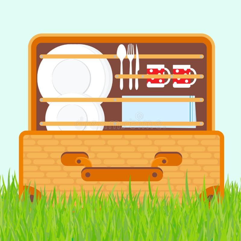 Öffnen Sie Korb für ein Picknick mit Geschirr- und Nahrungsmittelvektorillustration vektor abbildung