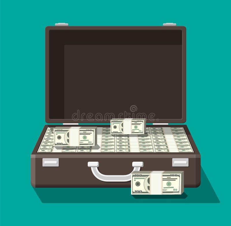 Öffnen Sie ledernen Koffer voll Geld lizenzfreie abbildung