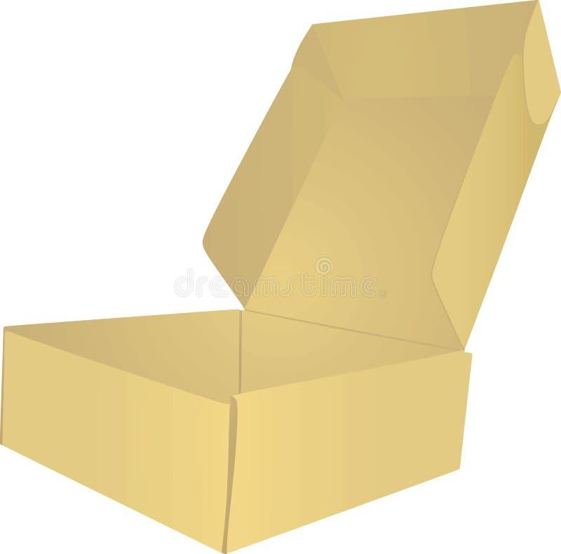 Öffnen Sie leeren Kasten auf weißem Hintergrund vektor abbildung