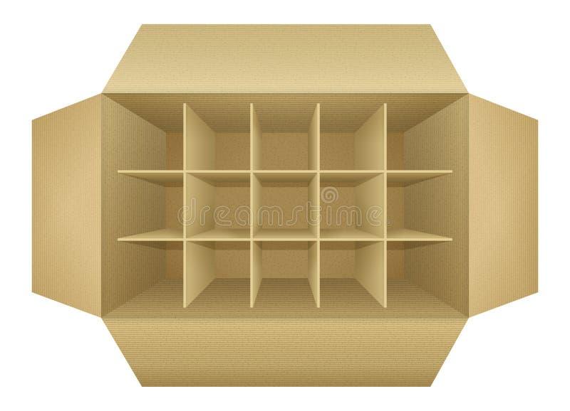 Öffnen Sie leeren verpackenkasten der Wellpappe lizenzfreie abbildung