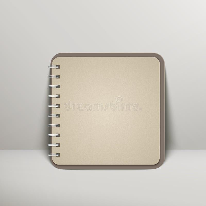 Öffnen Sie leeres braunes Notizbuch über Grau vektor abbildung