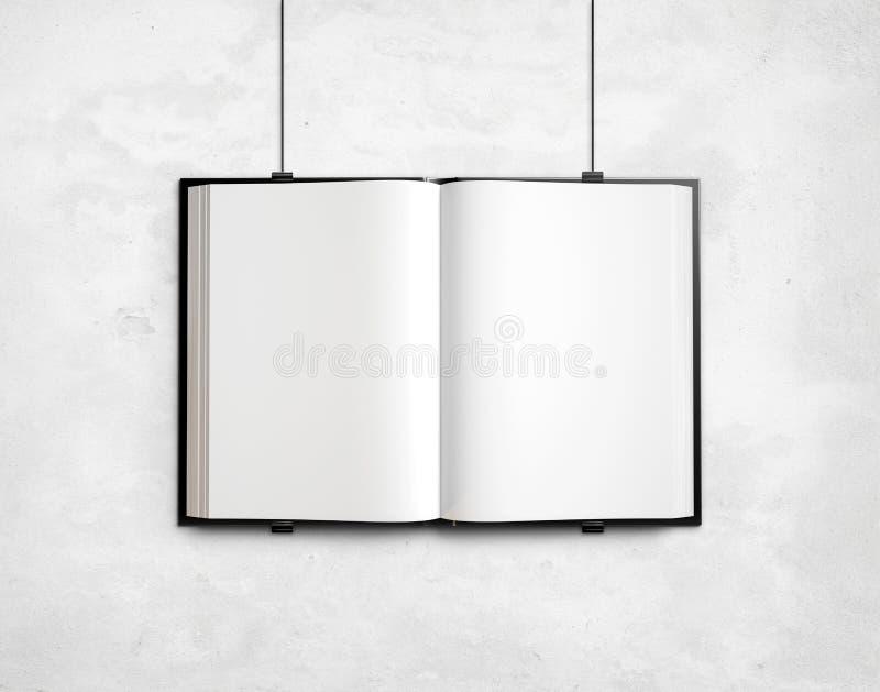 Öffnen Sie leeres Lehrbuch auf weißer Betonmauer vektor abbildung