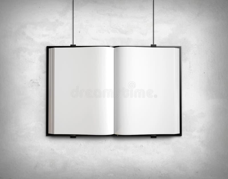 Öffnen Sie leeres Lehrbuch auf weißer Betonmauer lizenzfreie abbildung