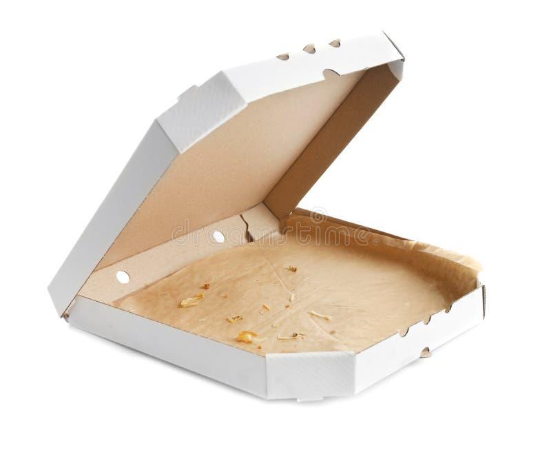 Öffnen Sie Papppizzakasten auf weißem Hintergrund stockfotos