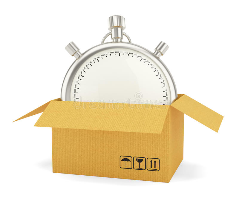 Öffnen Sie Pappschachtel mit Stoppuhr stock abbildung