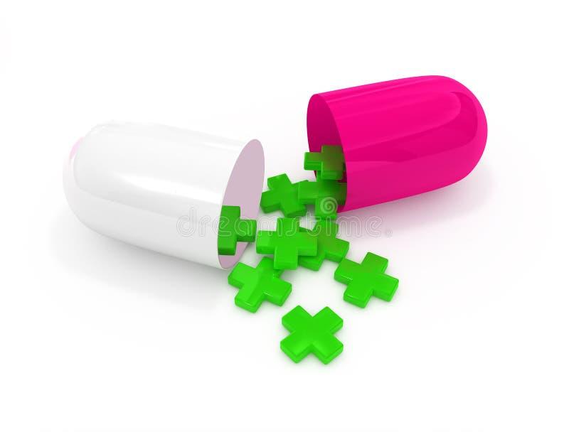 Öffnen Sie Pillekapsel mit Symbolen der Ersten ERSTE HILFE stock abbildung
