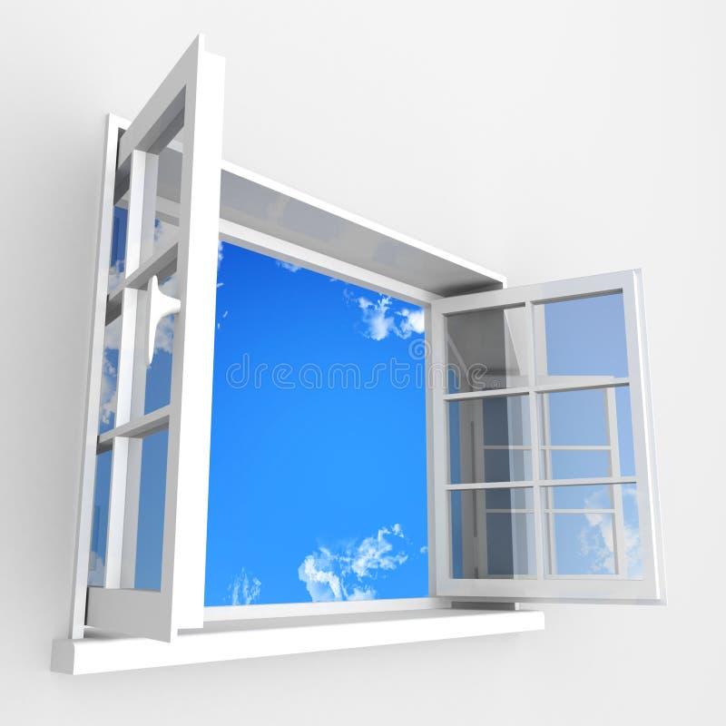 Öffnen Sie Plastikfenster zum Blauwolkenhimmel vektor abbildung