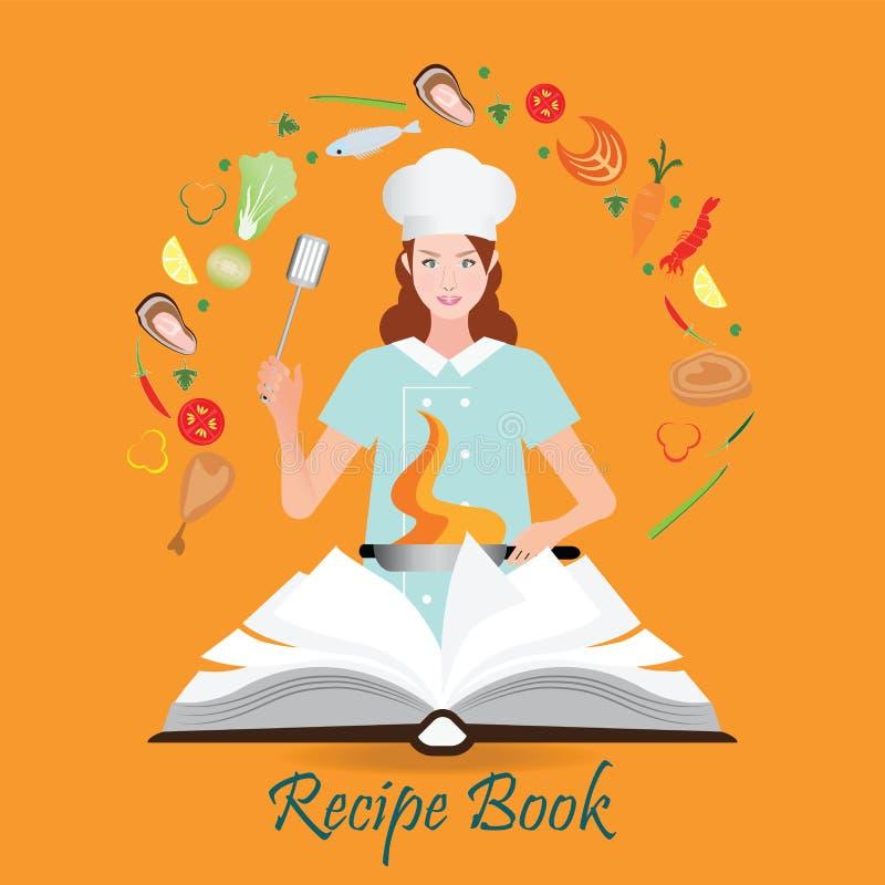 Öffnen Sie Rezeptbuch mit dem Frauenkochen vektor abbildung