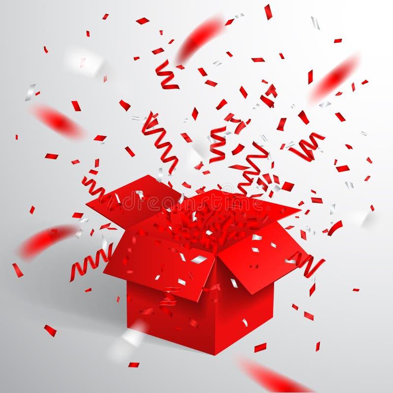 Öffnen Sie rote Geschenkbox und Konfettis Weihnachten und Valentine Background Auch im corel abgehobenen Betrag lizenzfreie abbildung
