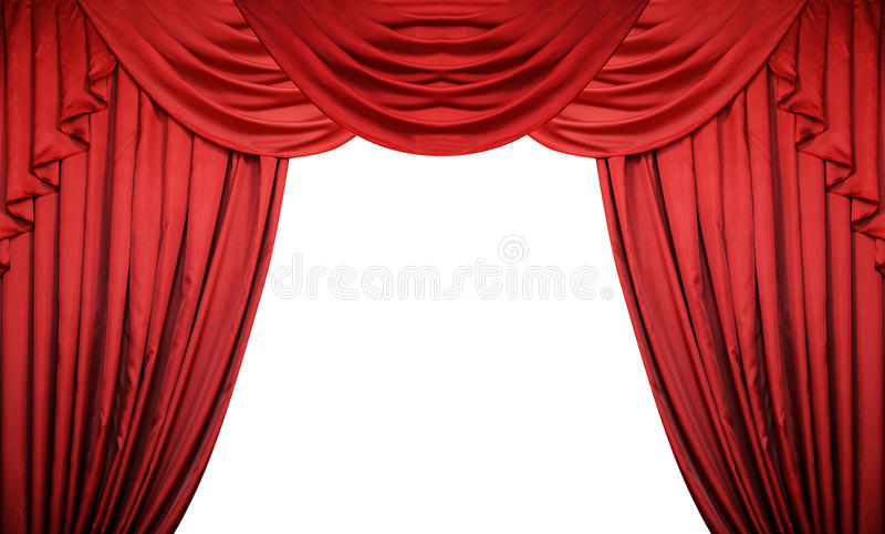 Öffnen Sie rote Vorhänge auf weißem Hintergrund Theater- oder Filmdarstellung mit Raum für Text stockfoto