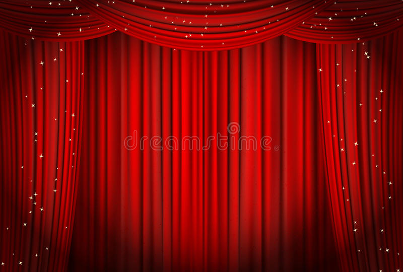 Öffnen Sie rote Vorhänge mit Funkelnoper oder Theaterhintergrund stock abbildung