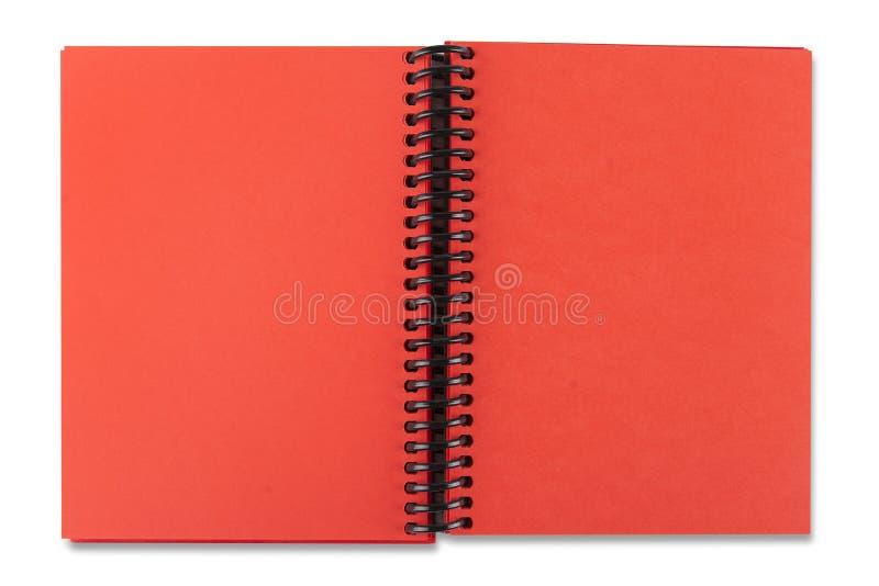 Öffnen Sie rotes Papiernotizbuch stockfoto