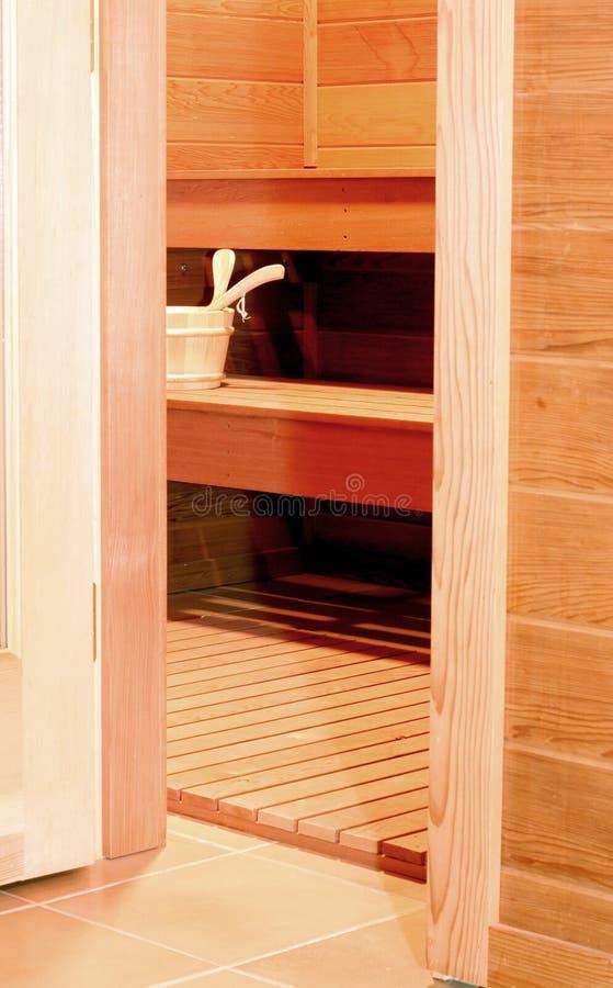 Öffnen Sie Sauna-Tür lizenzfreies stockbild