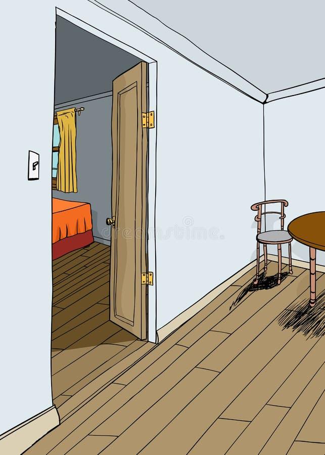 Wonderful Schlafzimmer Tur Offnen #12: Download Öffnen Sie Schlafzimmer-Tür Und Speiseraum Stock Abbildung -  Illustration Von Hintergrund, Möbel