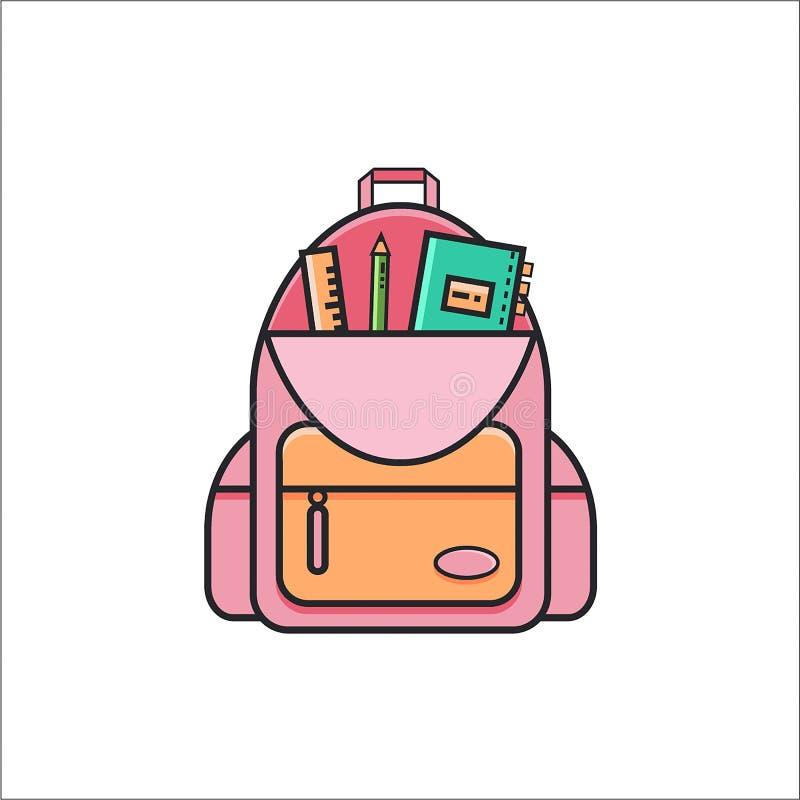 Öffnen Sie Schulrucksackikone mit Machthaber, Bleistift und Schreibheft stockbild