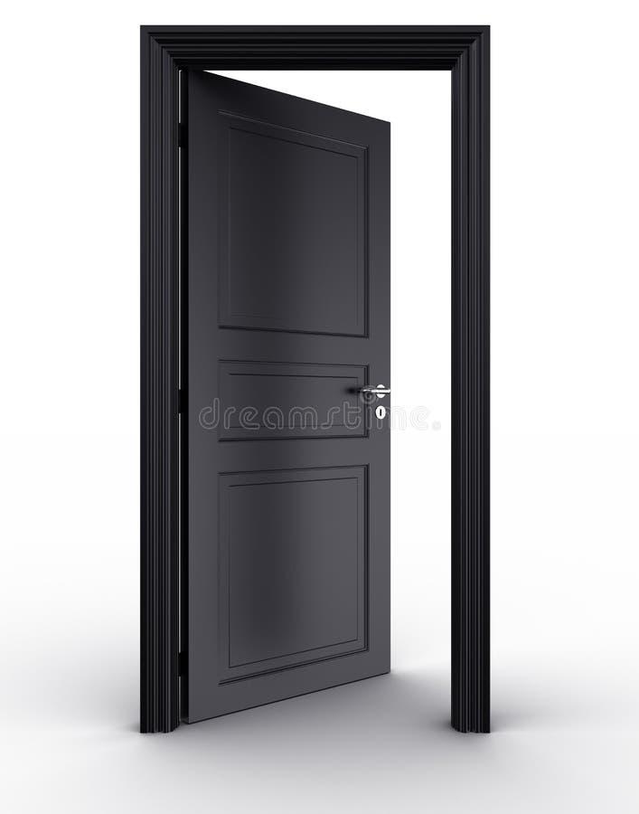 Öffnen Sie schwarze Tür lizenzfreie abbildung