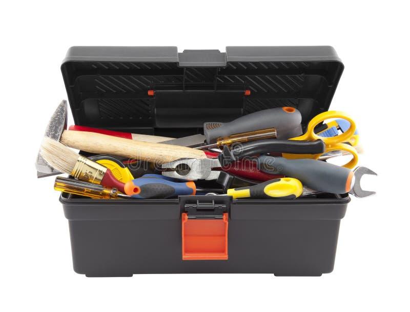 Öffnen Sie schwarzen Werkzeugkasten mit Werkzeugen lizenzfreie stockfotografie