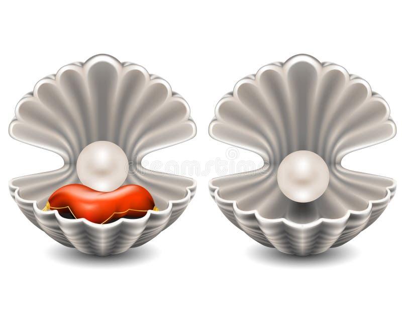Öffnen Sie Seashell mit Perle stock abbildung