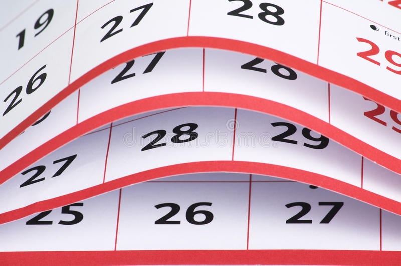 Öffnen Sie Seiten eines Kalenders lizenzfreie stockfotos