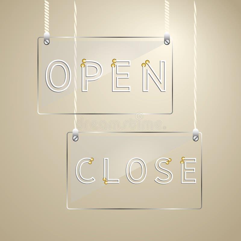 Öffnen Sie sich und nahes Zeichen auf Glasgestaltungselement lizenzfreie abbildung