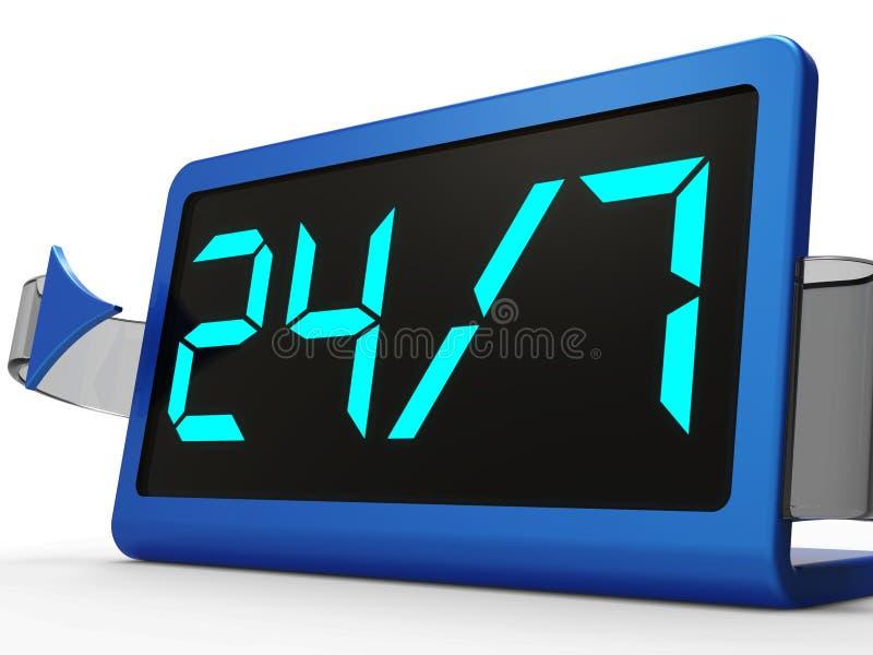 Öffnen Sie sich zwanzig vier Stunden lang und sieben Tage vektor abbildung
