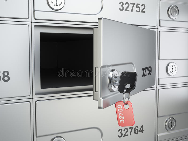 Öffnen Sie sichere Bankzelle und befestigen Sie zum Safe stock abbildung