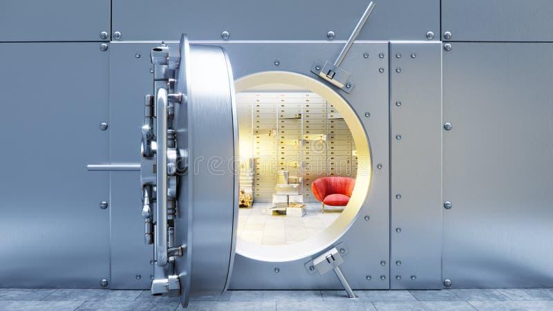 Öffnen Sie sichere Tür der Bank mit Dollarscheinen und Gold innerhalb 3d lizenzfreie abbildung