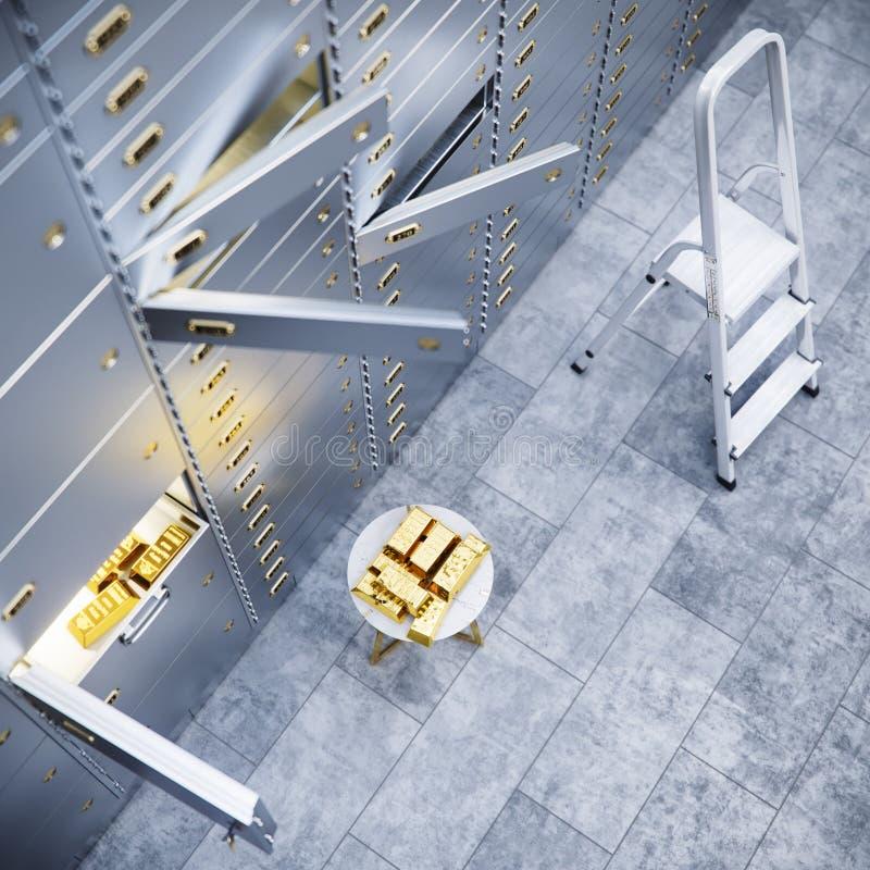 Öffnen Sie sichere Tür der Bank mit Gold innerhalb 3d vektor abbildung