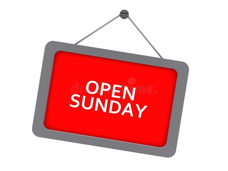 Öffnen Sie Sonntags-Zeichen lizenzfreie abbildung