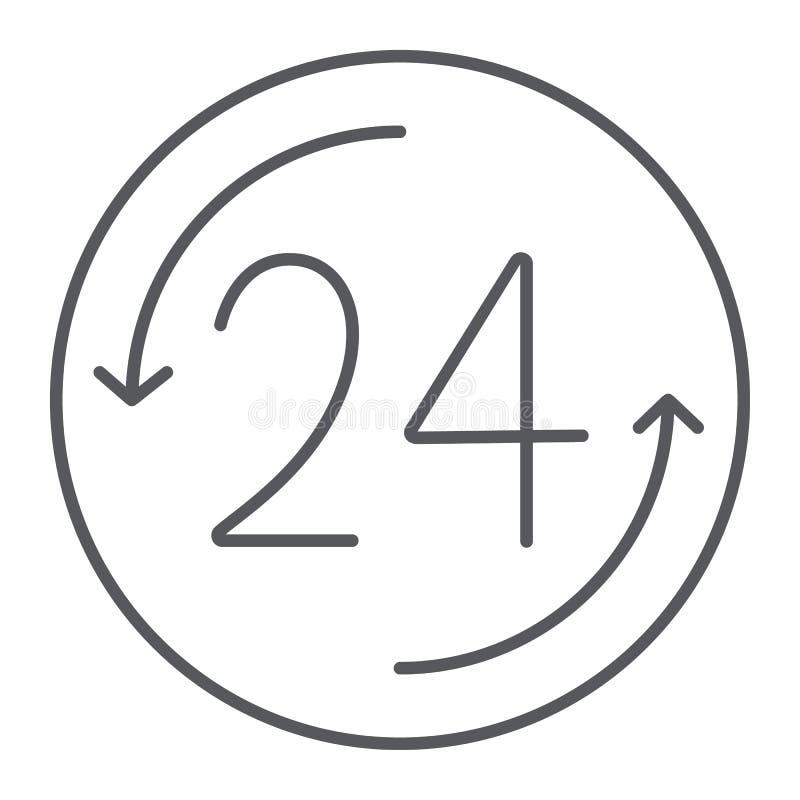 Öffnen Sie 24 Stunden der dünnen Linie Ikone, Services und Zeit, rund um die Uhr Zeichen, Vektorgrafik, ein lineares Muster auf e lizenzfreie abbildung