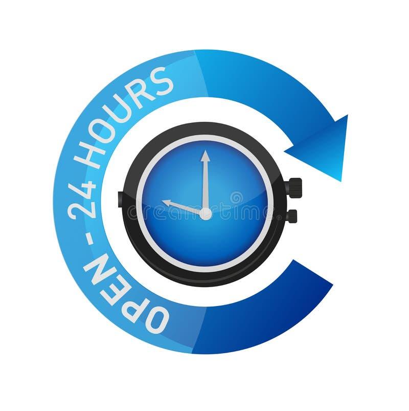 öffnen Sie 24 Stunden lokalisierte Uhrzeichen-Illustration lizenzfreie abbildung