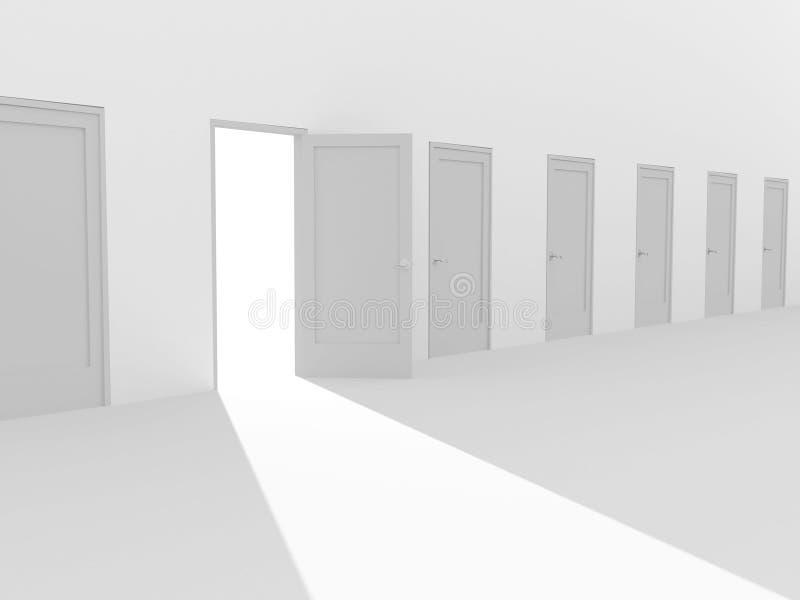 Öffnen Sie Tür 3d in einer Reihe der geschlossenen Türen stock abbildung