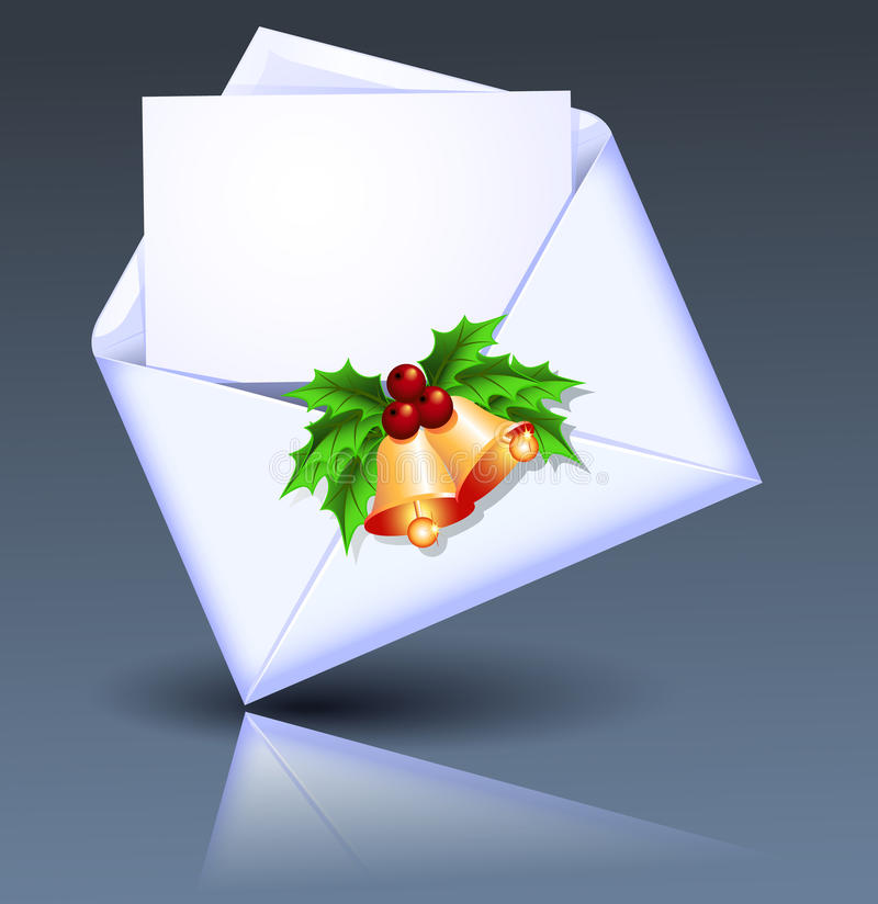 Öffnen Sie Umschlag mit goldenen Glocken stock abbildung
