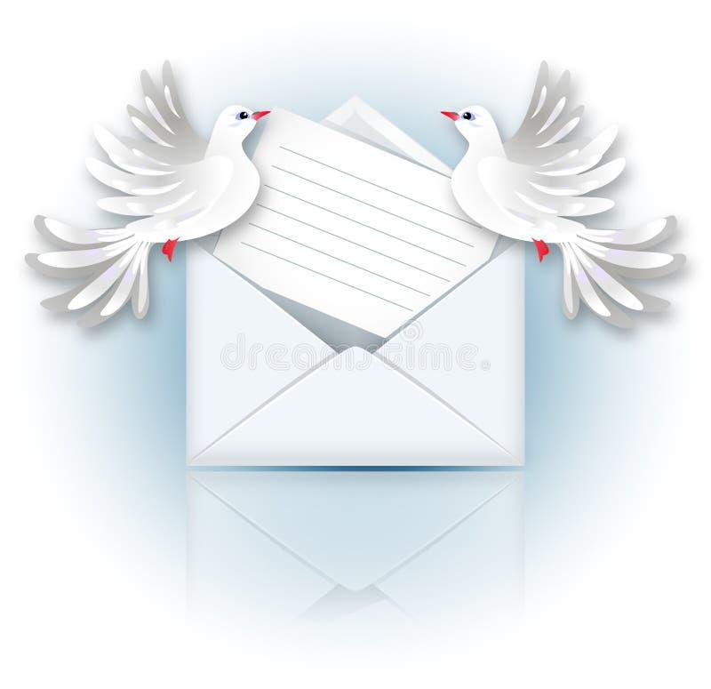 Öffnen Sie Umschlag und zwei Tauben vektor abbildung