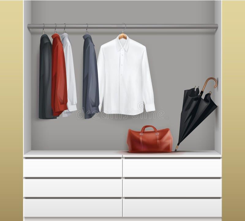 Öffnen Sie weiße Garderobe stock abbildung
