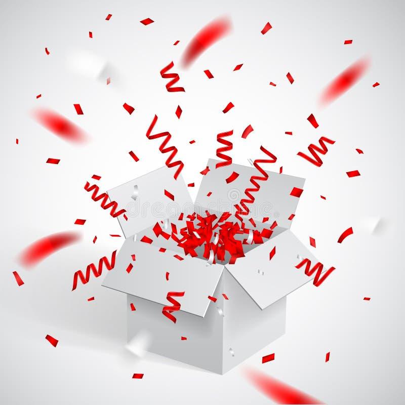 Öffnen Sie weiße Geschenkbox und Konfettis Weihnachten und Valentine Background Auch im corel abgehobenen Betrag vektor abbildung