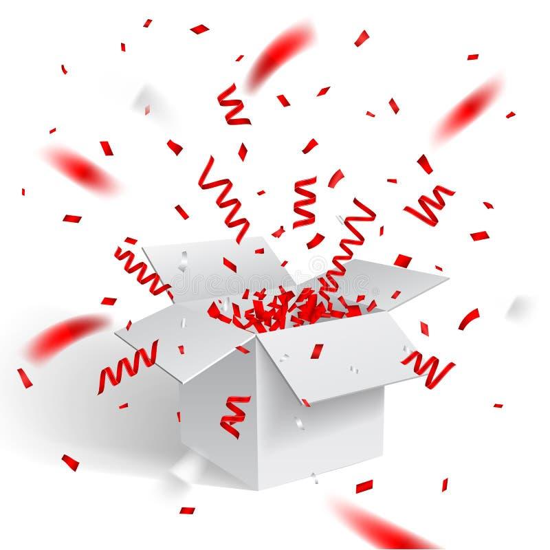 Öffnen Sie weiße Geschenkbox und Konfettis Weihnachten und Valentine Background Auch im corel abgehobenen Betrag stock abbildung