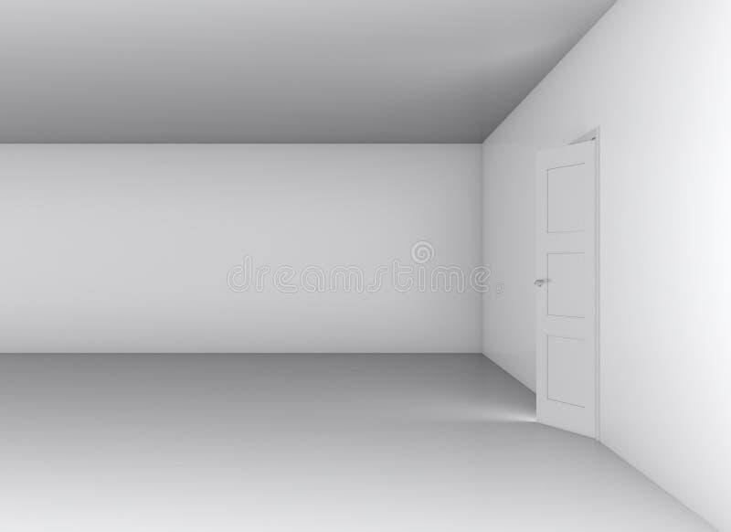 Öffnen Sie weiße Tür und leere Wand stock abbildung