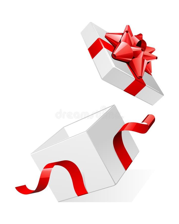 Öffnen Sie weißen Geschenkgeschenk-Überraschungskasten mit glänzendem bezüglich vektor abbildung