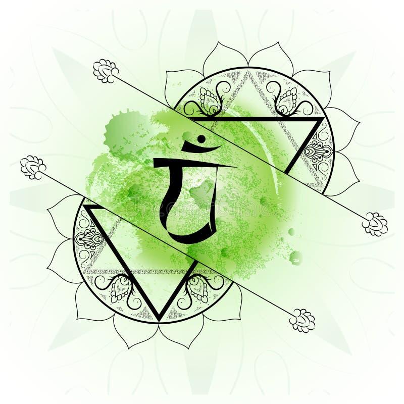 Öffnen Sie weiter chakra anahata auf grünem Aquarellhintergrund lizenzfreie abbildung