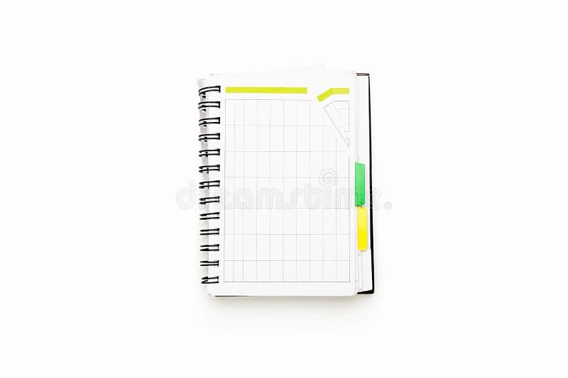 Öffnen Sie Zeitplan mit Ringmappe stockbilder