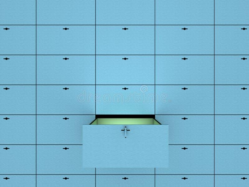 Öffnen Sie Zelle im SicherheitsSchließfach. stock abbildung