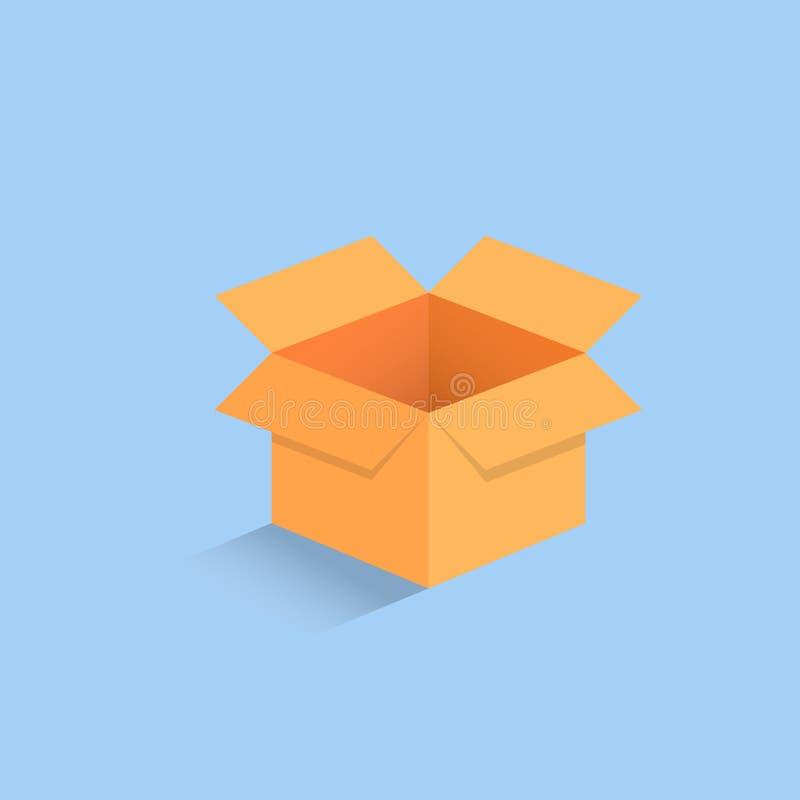 öffnete leere isometrische Pappe 3d den Kasten, der auf hellblauer Hintergrundvektorillustration lokalisiert wurde lizenzfreie abbildung