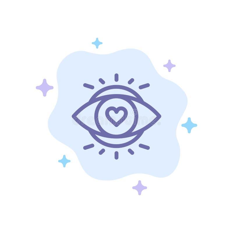 Öga ögon, utbildning som är ljus - blå symbol på abstrakt molnbakgrund stock illustrationer