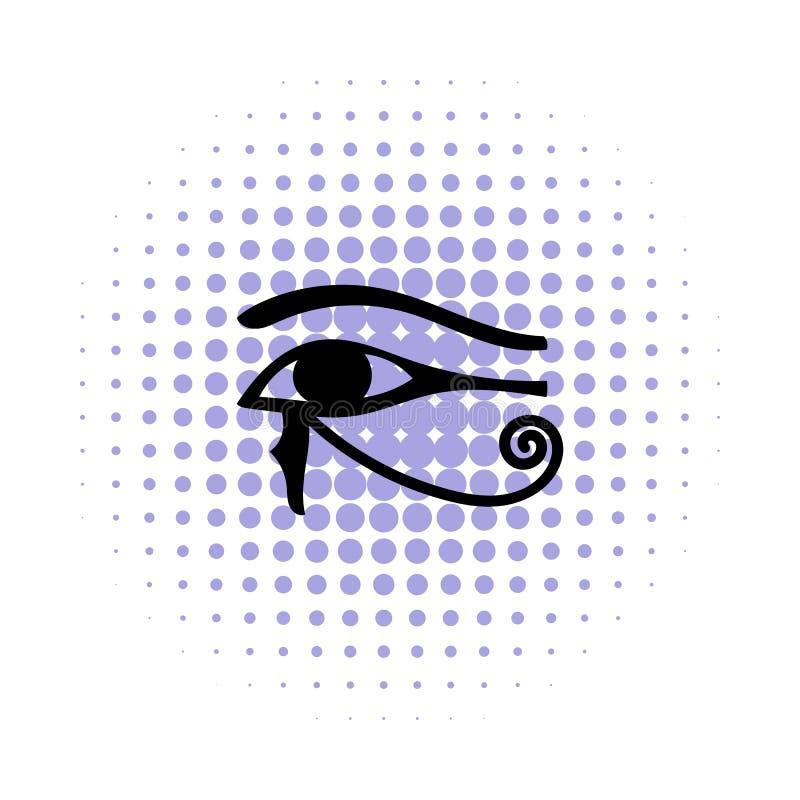 Öga av den Horus symbolen i komikerstil stock illustrationer